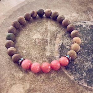 beaded gemstone wrist mala bracelet - pink jade